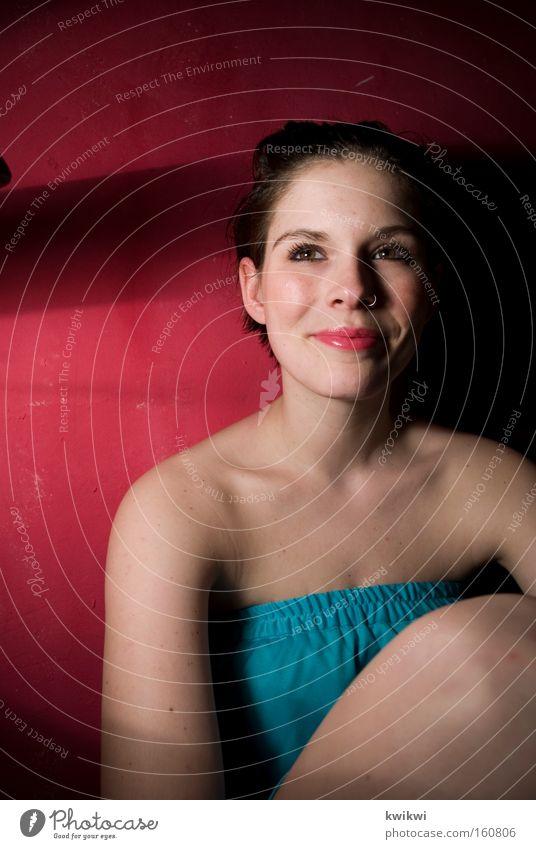 Woman Red Joy Adults Face Laughter Happy Dress Shoulder Low neckline Chest
