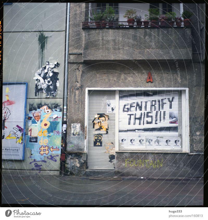 Berlin II House (Residential Structure) Gloomy Decline Balcony Neukölln Street Graffiti GDR Poster Roller shutter End Broken Wet Traffic infrastructure