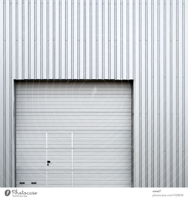 door in gate Door Gate Entrance Access Warehouse Hall Industrial Photography Industry Corrugated sheet iron Facade Background picture Silver Serrated Tin