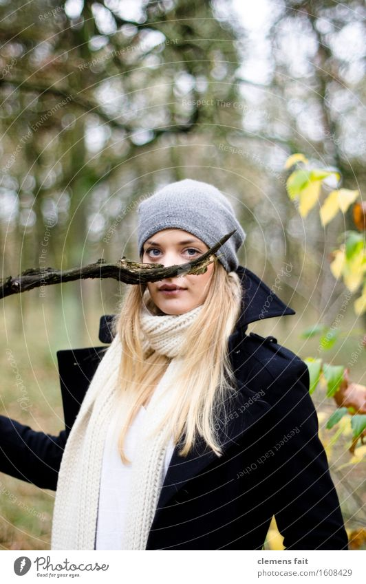 there purrs the branch Mary Forest Moustache Facial hair Branch Covered Mask Carnival Gray White Black Blur Woman Model