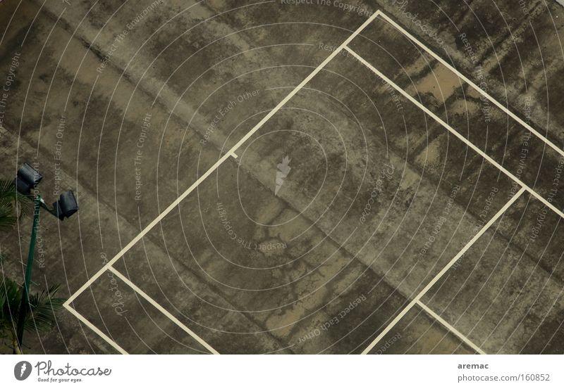 Sports Playing Gray Line Concrete Asphalt Derelict Tennis Aerial photograph Tennis court Hard court