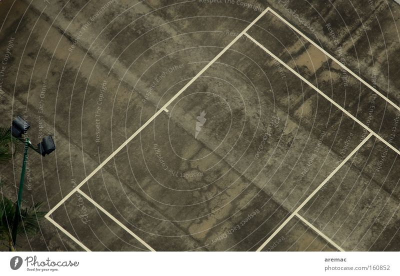 Tough conditions Tennis Tennis court Line Asphalt Sports Playing Concrete Gray Hard court Aerial photograph Derelict Black & white photo Exterior shot