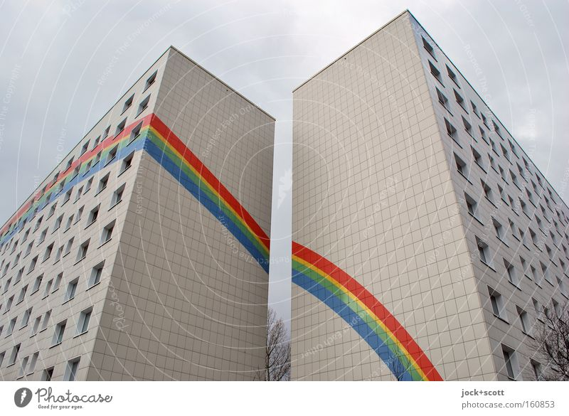 Somewhere over the Rainbow Sky City Colour Tree House (Residential Structure) Winter Architecture Berlin Line Facade Living or residing Modern Esthetic Stripe
