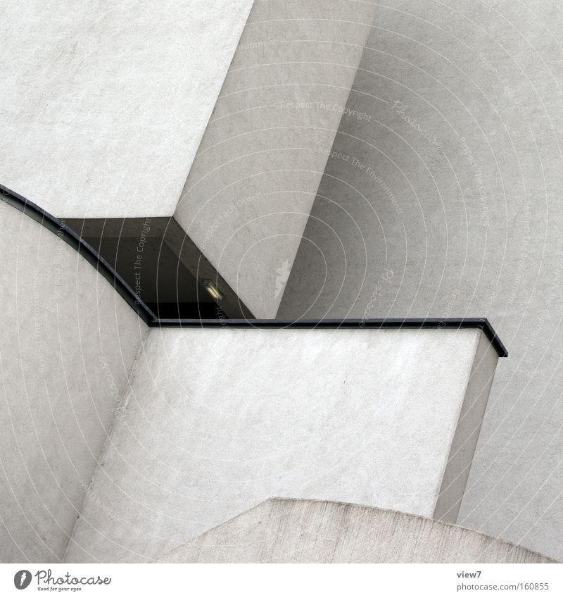 angular Corner Corner of the room Concrete Stone Architecture Detail Miter joint Aluminium Stairs Modern Gloomy Boredom Plaster White Colour Diagonal