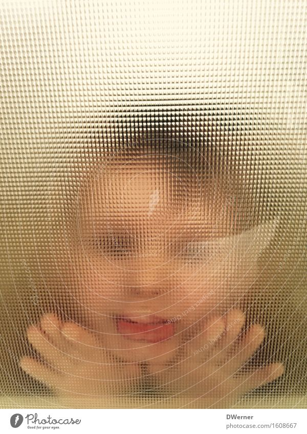 facial expression Beautiful Parenting Education Kindergarten Child Masculine Baby Toddler Girl Boy (child) Face Door Glass Kissing Smiling Looking Esthetic