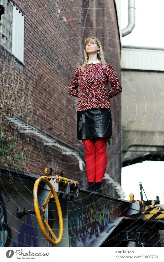Human being Woman City Red Adults Wall (building) Life Graffiti Feminine Building Legs Wall (barrier) Facade Friendship Elegant Body