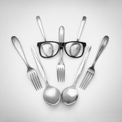 robot Metal Sadness Exceptional Threat Creepy Cold Funny Nerdy Cute Whimsical Robot Technique photograph Eyeglasses Fork Spoon Humor Universe