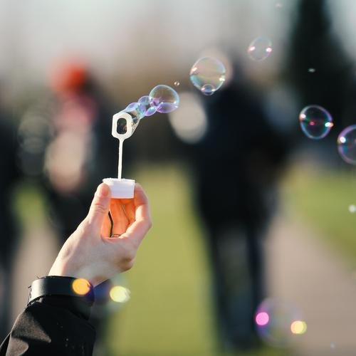 Human being Hand Playing Small Group Flying Dream Wind Kitsch Soap bubble Air bubble