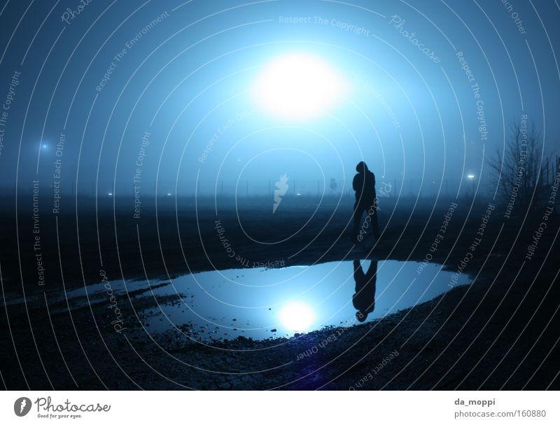Water Blue Black Loneliness Dark Fog Mirror Creepy Puddle Floodlight Dreary