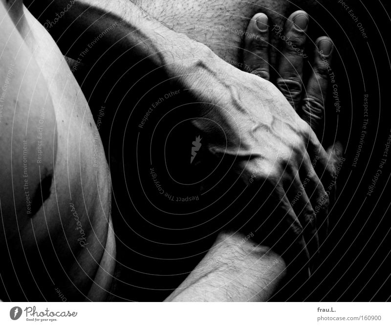 lap Black & white photo Interior shot Close-up Nude photography Day Contrast Deep depth of field Upper body Human being Masculine Man Adults Body Skin Chest