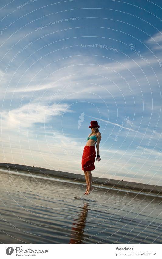 Woman Water Sky Red Summer Joy Beach Calm Jump Lake Sand Landscape Mirror Idyll Harmonious Hover