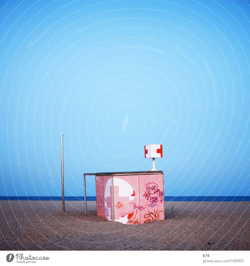 Pink Cross First Aid Beach Ocean Go under Tsunami Sand Rescue Help Doctor Barcelona Coast drift sand