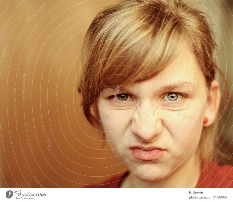 Woman Youth (Young adults) Face Adults Nose Anger Self portrait Aggravation Brash Grimace Puberty