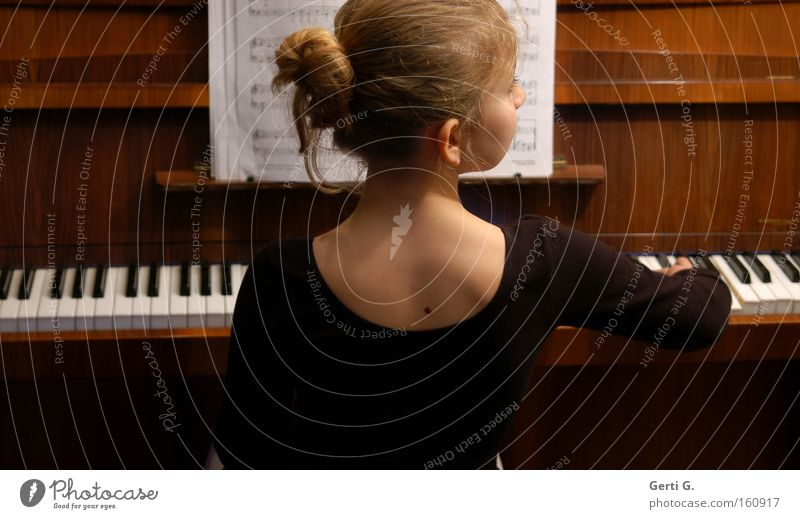 Youth (Young adults) Girl Child Music School Education Make music Keyboard Piano Musical notes Musical instrument Lessons Mole Stationery Chignon