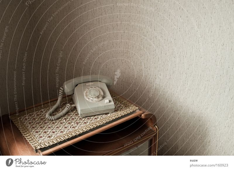 Old Wall (building) Flat (apartment) Living or residing Table Telephone Telecommunications Retro Contact Past Wallpaper GDR Blanket Iconic Receiver Corner of the room