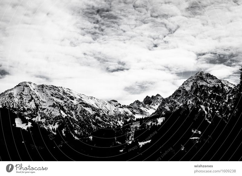 Snowcapped mountains in black and white Nature Climate Forest Rock Alps Mountain Peak Snowcapped peak Hiking Black White Wanderlust Far-off places Bavaria