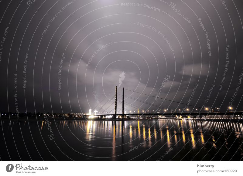 good night Moody Atmosphere Duesseldorf Town Night Night life River Bridge Lighting Architecture Rhine Logistics Transport Sky Long exposure lighting technology