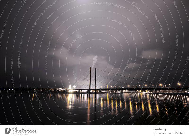 Sky City Moody Lighting Architecture Transport Bridge Night Logistics River Duesseldorf Rhine Night life Atmosphere