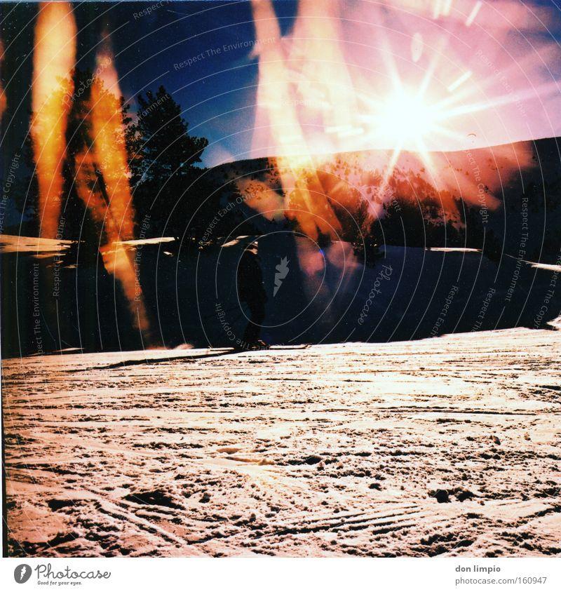 sol i new Sun Snow Mountain Back-light Medium format Andorra Cross processing Colour Analog Winter soldeu lightleak Light leak