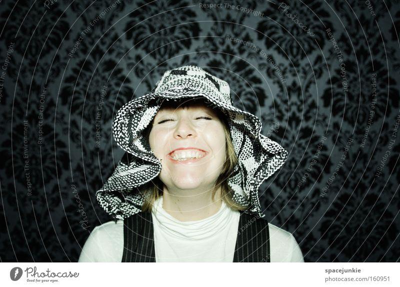 happiness Portrait photograph Woman Feminine Hat Head Wallpaper Looking Joy Happiness Funny Joie de vivre (Vitality) Laughter Retro Snapshot