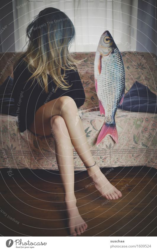 Young woman Girl Window Legs Hair and hairstyles Feet Sit Fish Sofa Agree Remixcase