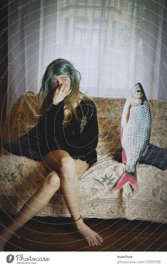 Child Young woman Girl Window Legs Feet Fish Sofa Odor Agree Remixcase