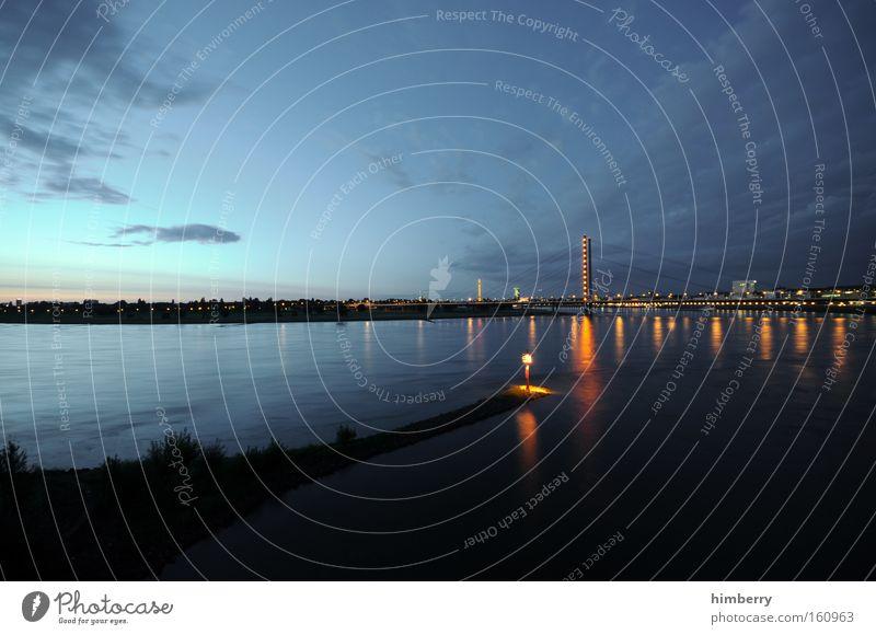 Sky City Moody Lighting Transport Bridge River Logistics Navigation Duesseldorf Rhine Atmosphere