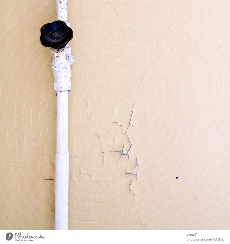 Old Colour Wall (building) Wait Transience Pipe Iron-pipe Boredom Shabby Testing & Control Plaster Transmission lines Close Location Tap Installations