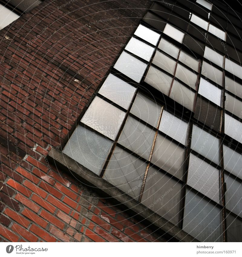 urban tetris Facade Old building Ruin Warehouse Industrial Photography Industry Industrial district Building Brick Wall (barrier) Window Window pane Slice Glass