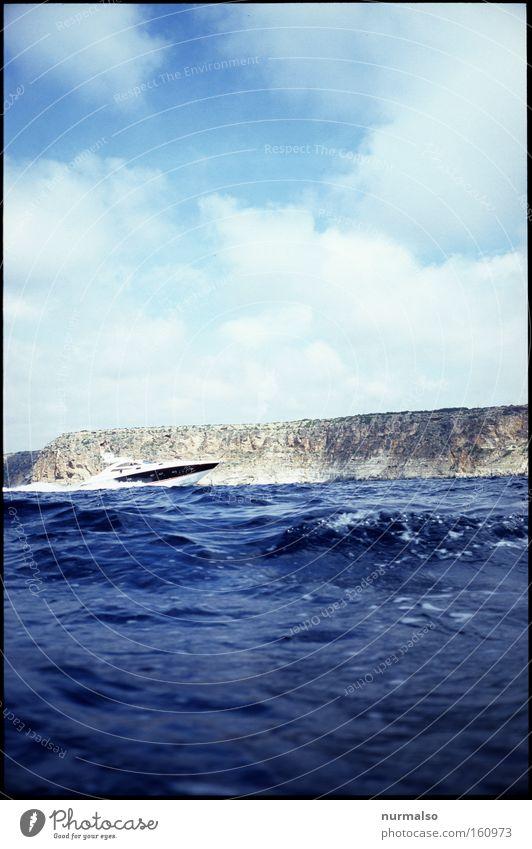 speed bump Speed Speedboat Motorboat Coast Cliff Majorca Mediterranean sea Summer Boast Rich Millionaire Sheik Polluter Navigation Ocean Joy