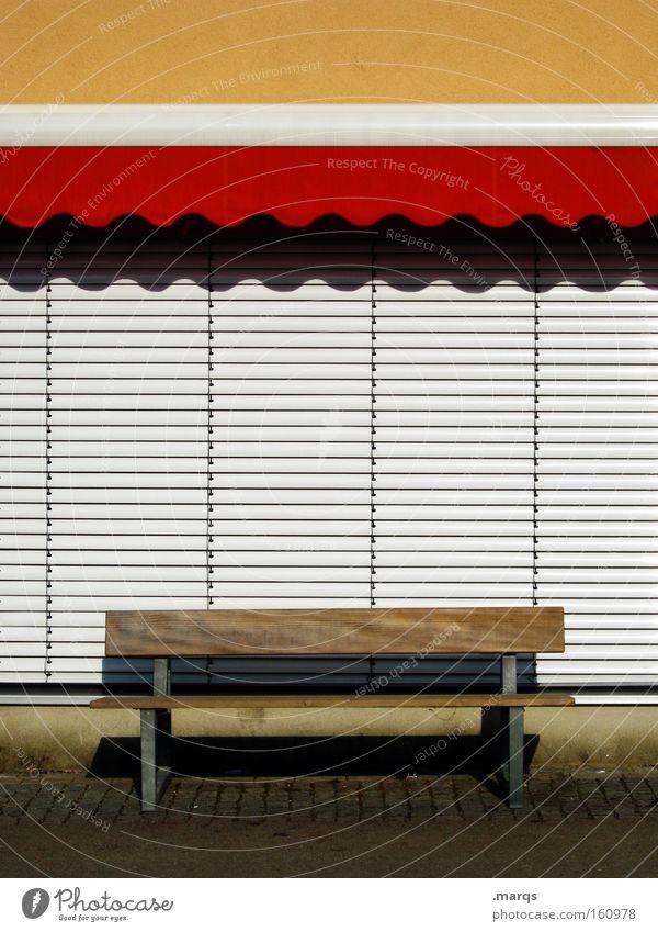 Ein Platz an der Sonne Summer Calm Relaxation Leisure and hobbies Closed Break Things Bench Sunday Sun blind Pedestrian precinct Roller shutter