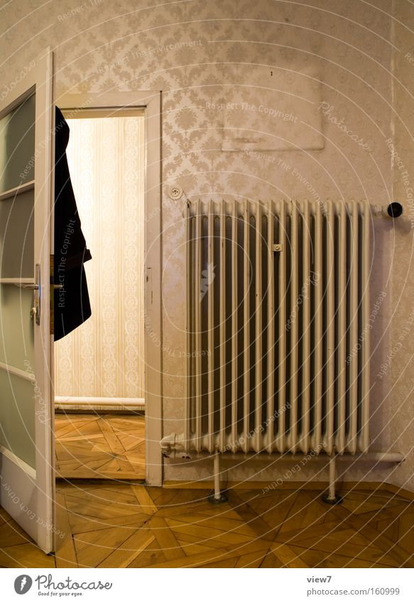 Old Wall (building) Flat (apartment) Decoration Door Transience Tracks Living room Hallway Heater Fashioned Parquet floor Heating Way out Homey Dignified