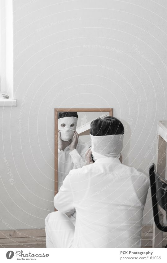 Man White Face Human being Art Mask Mirror Shirt Ghosts & Spectres  Mirror image Arts and crafts  Bandage