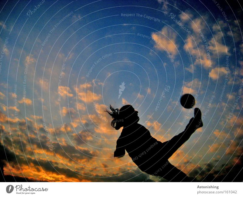 Human being Sky Clouds Sports Playing Movement Soccer Moody Foot ball Ball To fall