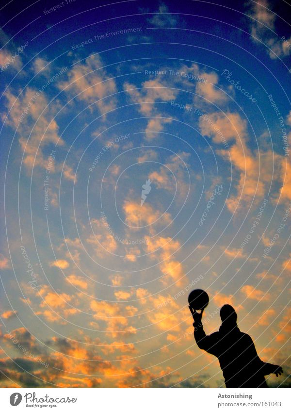 Human being Sky Hand Clouds Dark Sports Playing Earth Moody Ball Planet