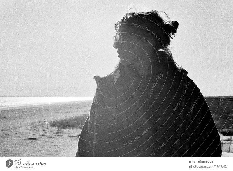 sun, summer, worry. Summer Sun Beach Concern Look after Youth (Young adults) Black & white photo Happy Joy Braids Eyeglasses Coat Light Freedom Beautiful