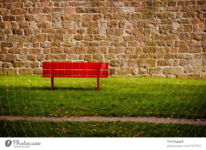 Bath bench Bench Red Relaxation Calm Break Loneliness Wall (barrier) Lawn Park Financial Crisis Summer Garden banking crisis