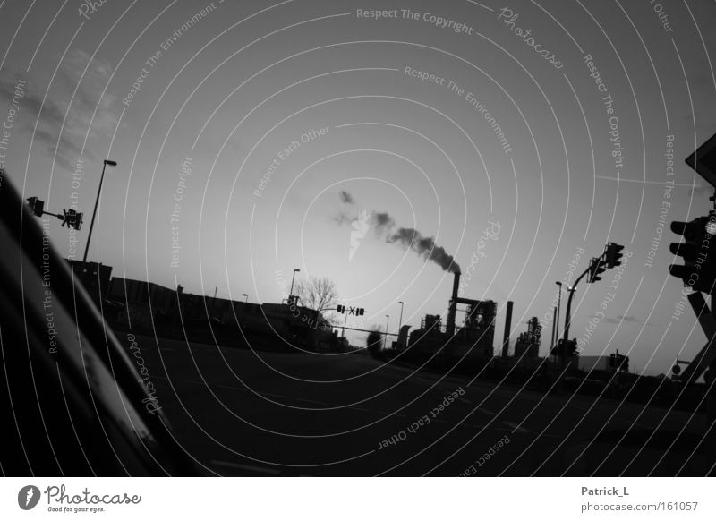 smoky intersection Industrial district Black White Environment Street Motor vehicle Germany Exhaust gas Production Infrastructure Industry Black & white photo