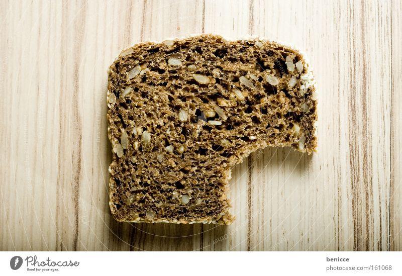 bitten into Bread Wholewheat Bite Nutrition Baked goods brochure disc Window pane Teeth Whole grain bread