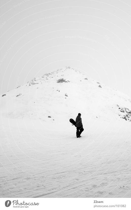 Human being White Loneliness Winter Dark Black Mountain Snow Stone Fog Walking Individual Peak Upward Austria Carrying