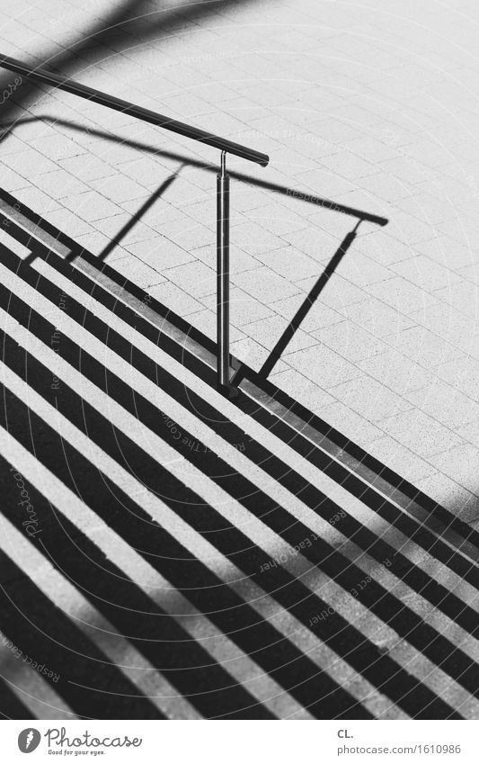 staircase Stairs Traffic infrastructure Lanes & trails Banister Line Sharp-edged Downward Black & white photo Exterior shot Deserted Day Light Shadow Contrast