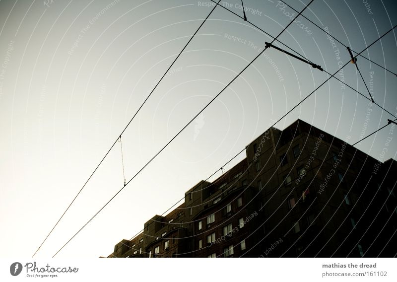 Beautiful Sky Blue City House (Residential Structure) Building Architecture Cable Idyll Lantern Steel cable Tram Tense