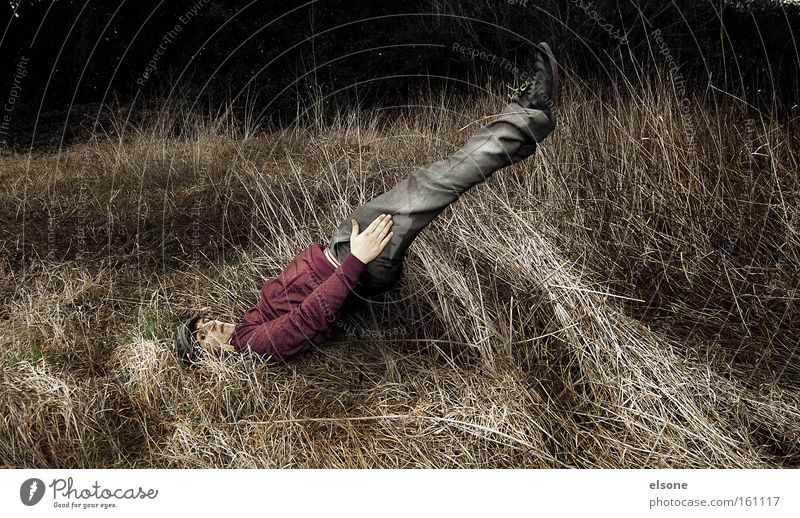 SLANTED Nature Meadow Grass Funny Crazy Motionless Human being Man Leisure and hobbies elson Tilt