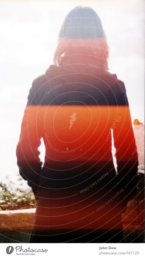 Data Acquisition / Identity Human being Feminine Young woman Youth (Young adults) Jacket Coat Stand Dream Uniqueness Longing Wanderlust Anonymous Barcode
