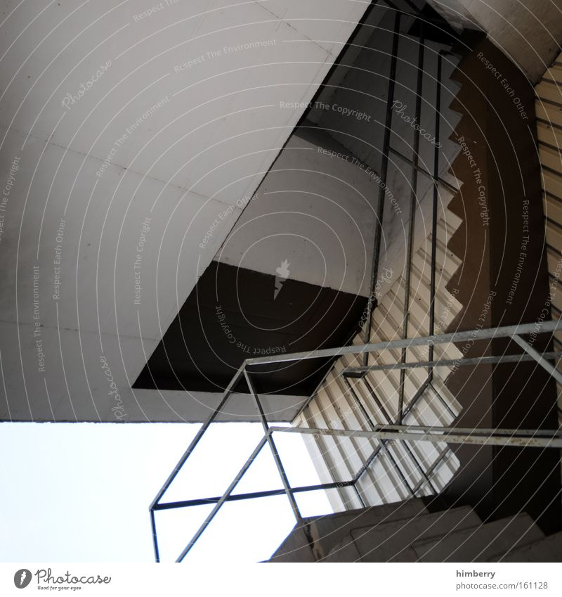 stairs up stairs down stairs Stairs Architecture Building Perspective Handrail Banister Go up Descent Concrete Ceiling Construction site Manmade structures