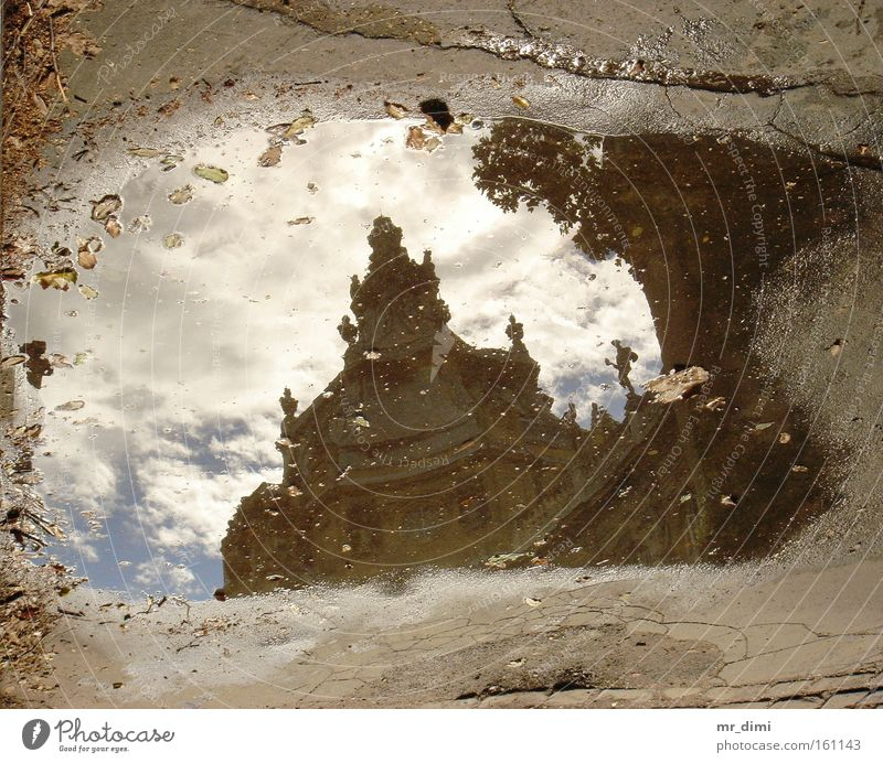 reflective cement Reflection Museum Budapest Hungarian Autumn Water cloudy picture in water royal agriculture museum cement picture Royal