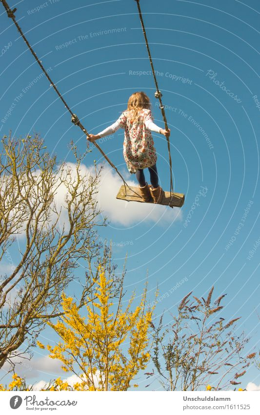 cloud surfing Leisure and hobbies Playing Children's game Parenting Human being Girl Infancy Life 3 - 8 years Nature Sky Clouds Spring Beautiful weather Bushes