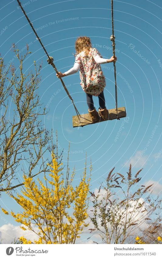 sky-high Leisure and hobbies Playing Children's game Garden Girl Infancy Life 3 - 8 years Air Sky Clouds Spring Beautiful weather Wind Bushes To swing Tall