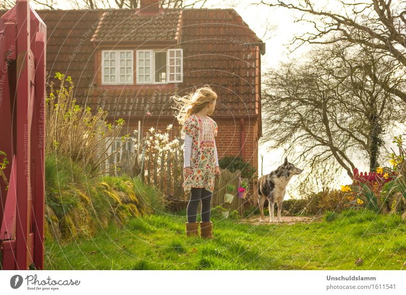 Child Dog Nature House (Residential Structure) Animal Girl Emotions Spring Garden Moody Friendship Living or residing Fear Idyll Infancy Communicate