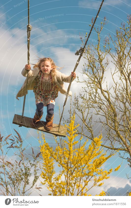 Human being Child Sky Clouds Joy Girl Life Emotions Spring Movement Playing Freedom Flying Moody Leisure and hobbies